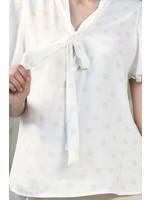 Vitesi Short Sleeve Polka Dot Blouse with Tie