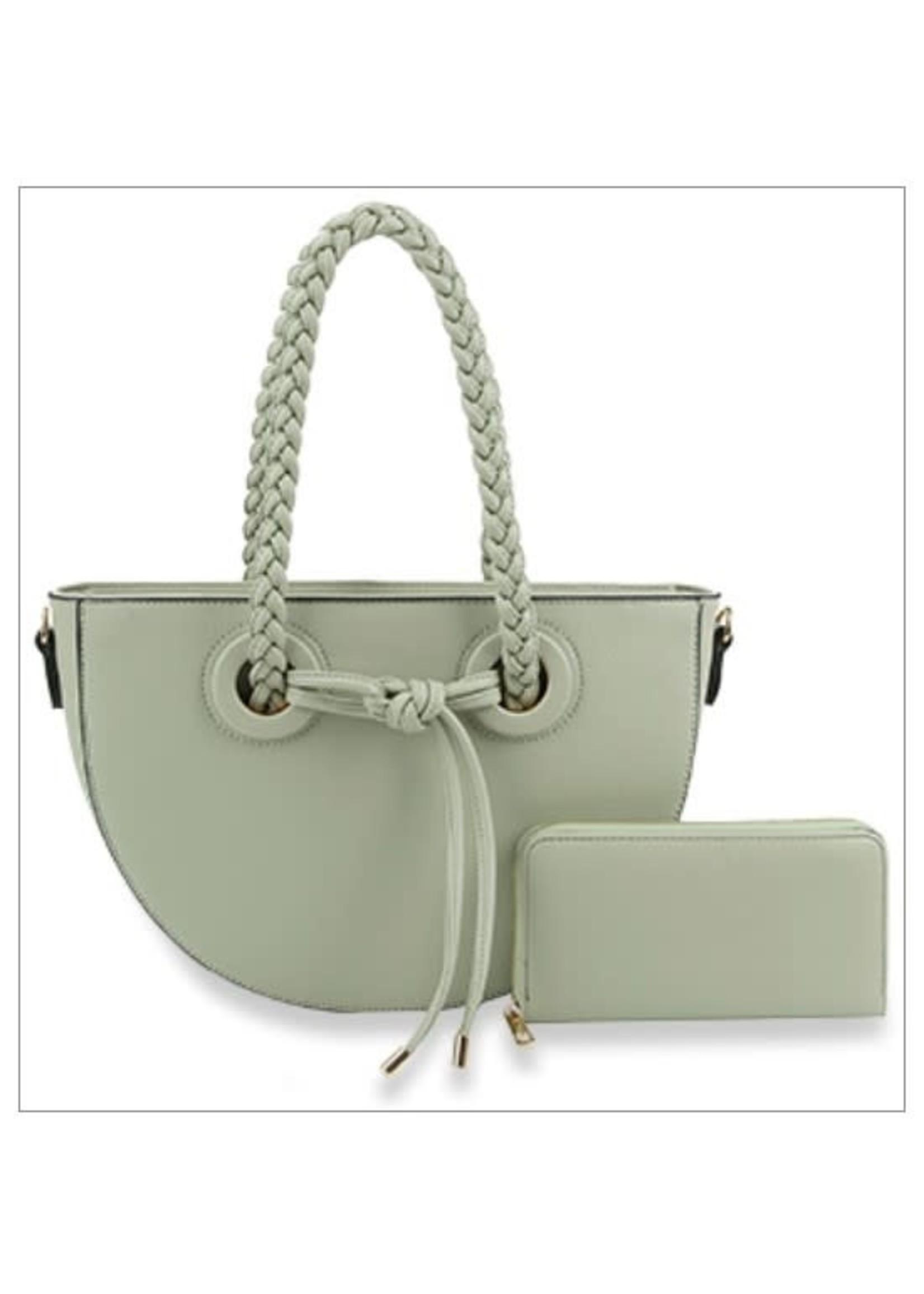 Mint Braided Handle Tote  Handbag Set