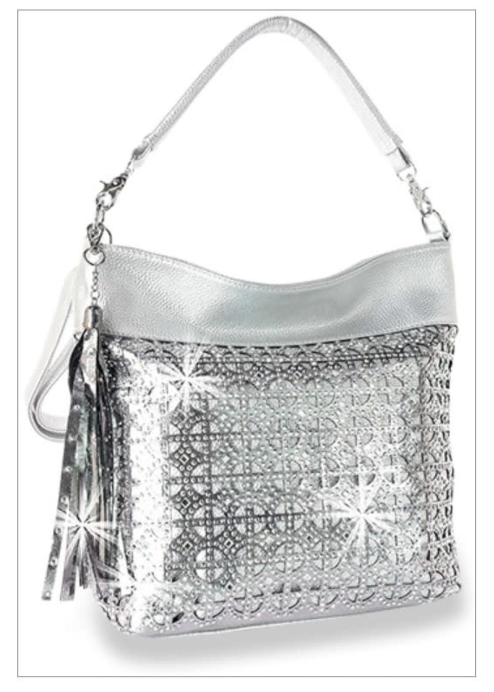 Hobo Handbag with Rhinestone Bling