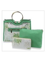 Floral Print Mesh 3pc Handbag Set