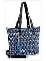 Sparkling Rhinestone Bling Tote in Navy and Black