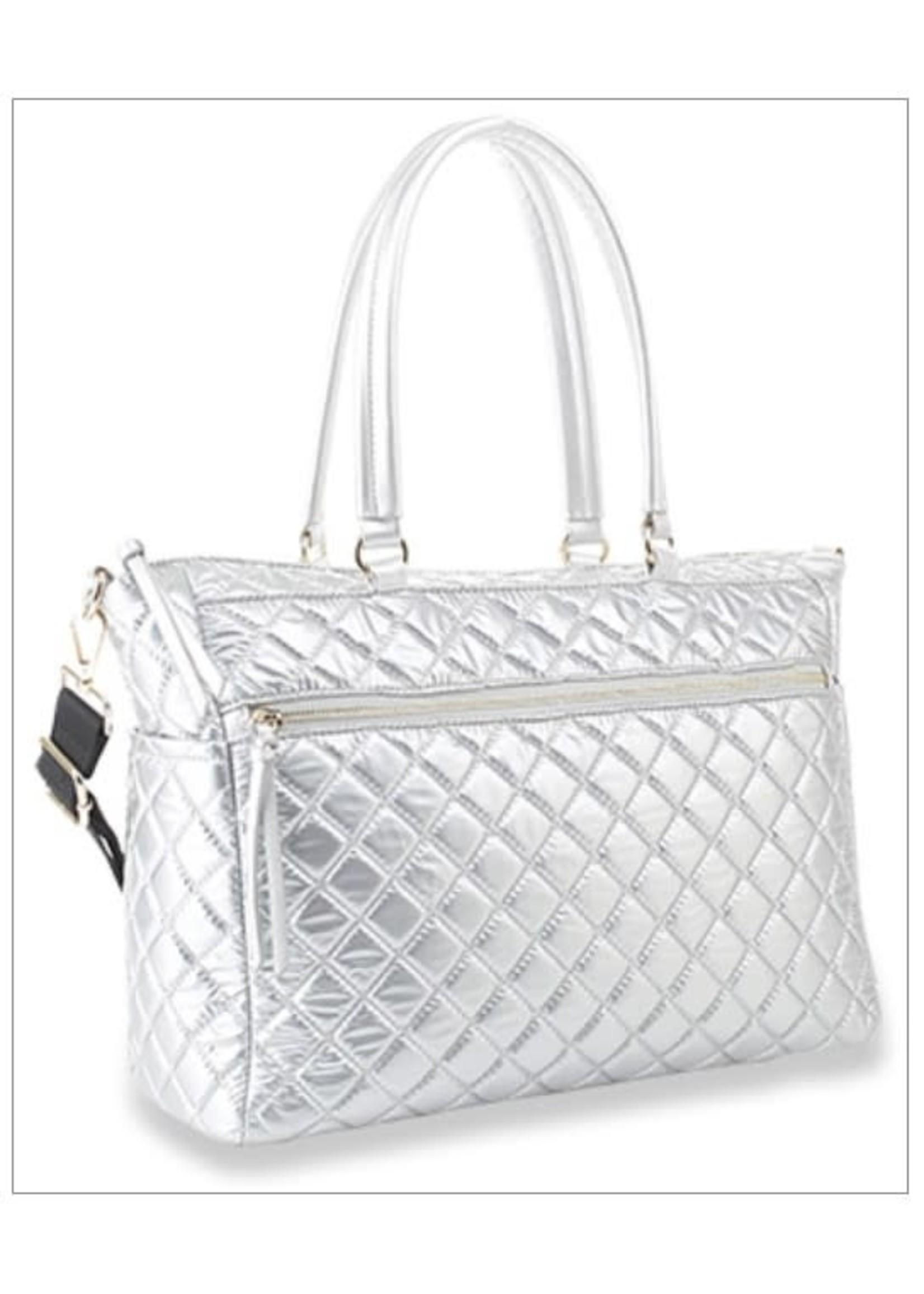Shimmer Quilted Tote Handbag