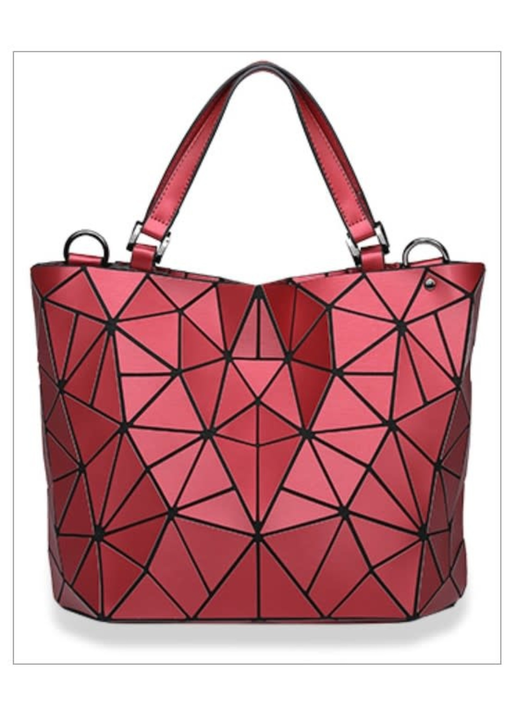 KDX Matte Prism Tote Handbag Stunning Red
