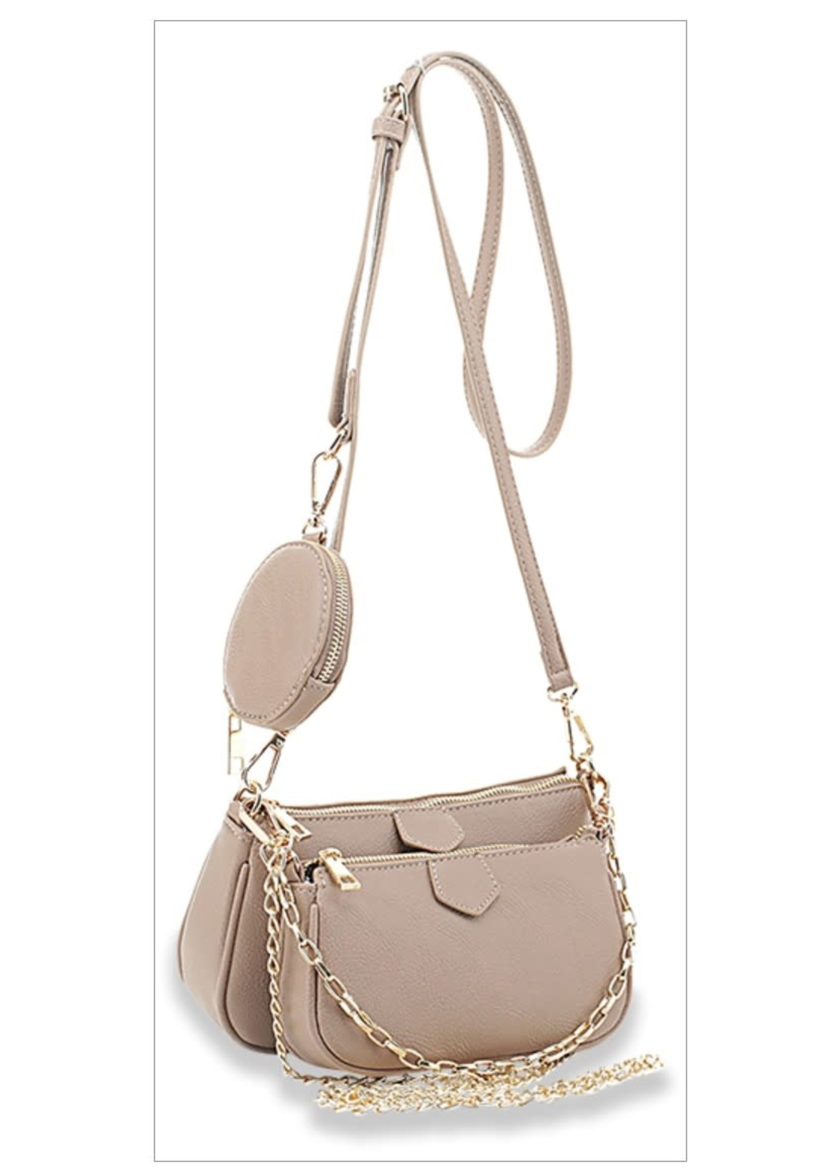 KDX Chain Accent 3pc Crossbody Multi Functional Bag