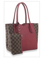 KDX Signature Designer Print 2pc Tote Handbag Burgundy