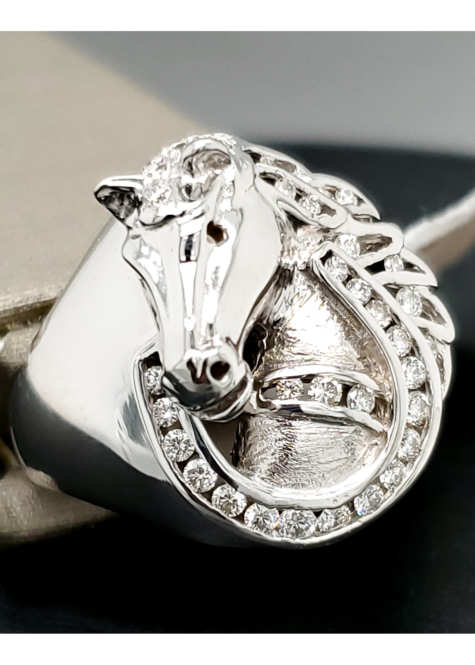 Hang Lau 18kt White Gold Horse Ring by Goldsmith Hang Lau