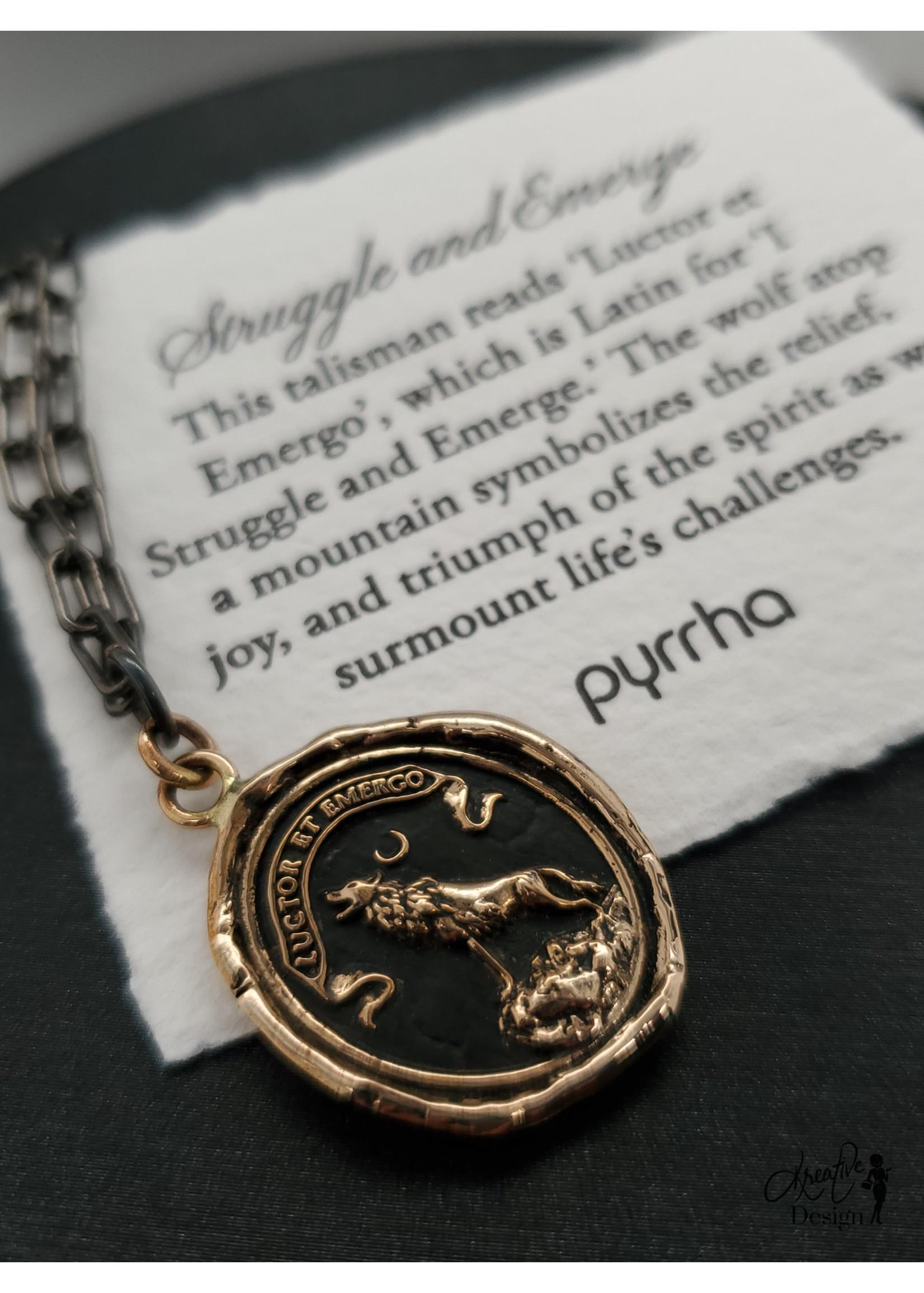 "Pyrrha Pyrrha Struggle & Emerge Black Small 18"" Paperclip Chain Necklace, Bronze"
