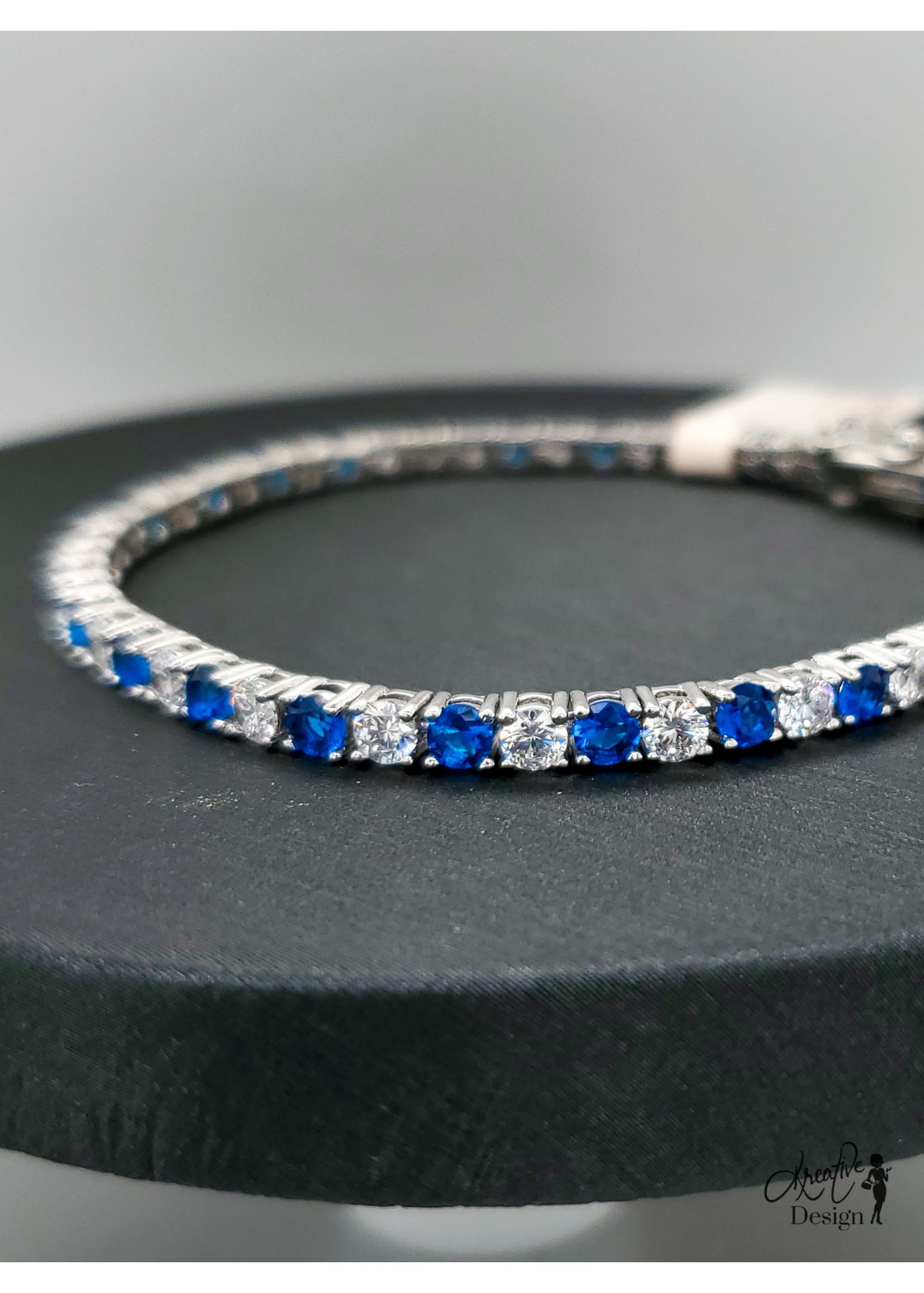 KDesign Regal Collection Regal Blue Cz Tennis Bracelet