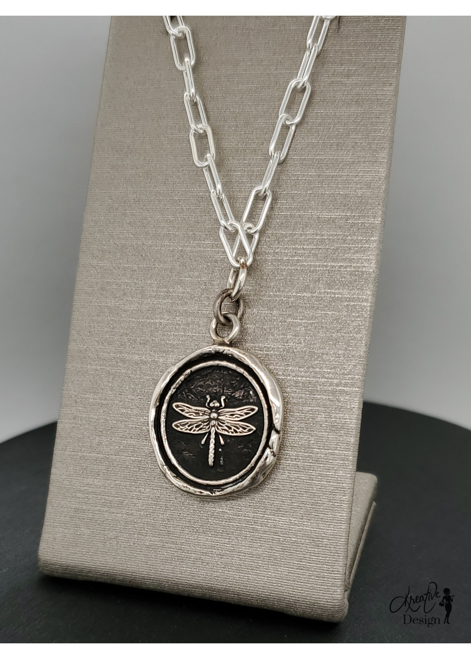 """Pyrrha Dragonfly Bright Silver Small Paperclip Chain Necklace, Sterling 18"""" Paperclip Chain"""
