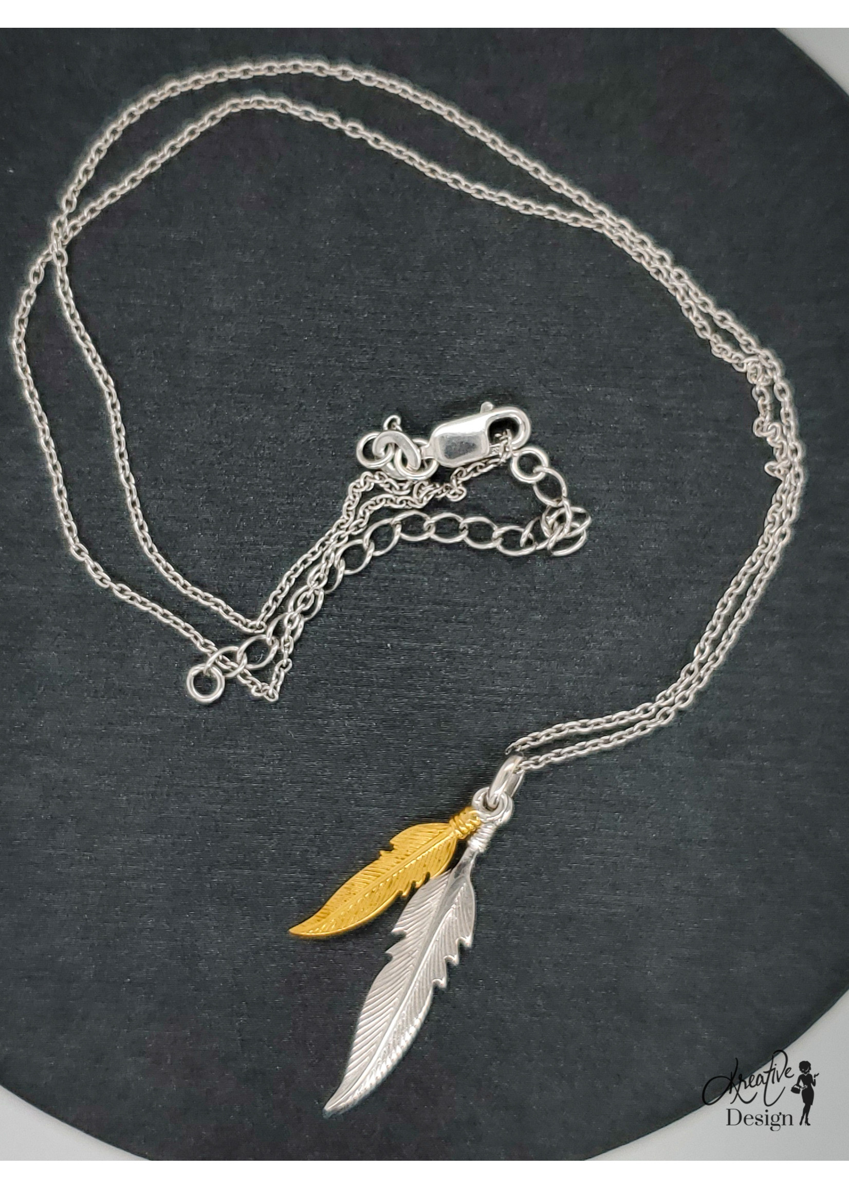 KDesign Regal Collection Regal Two-Tone Feather Necklace