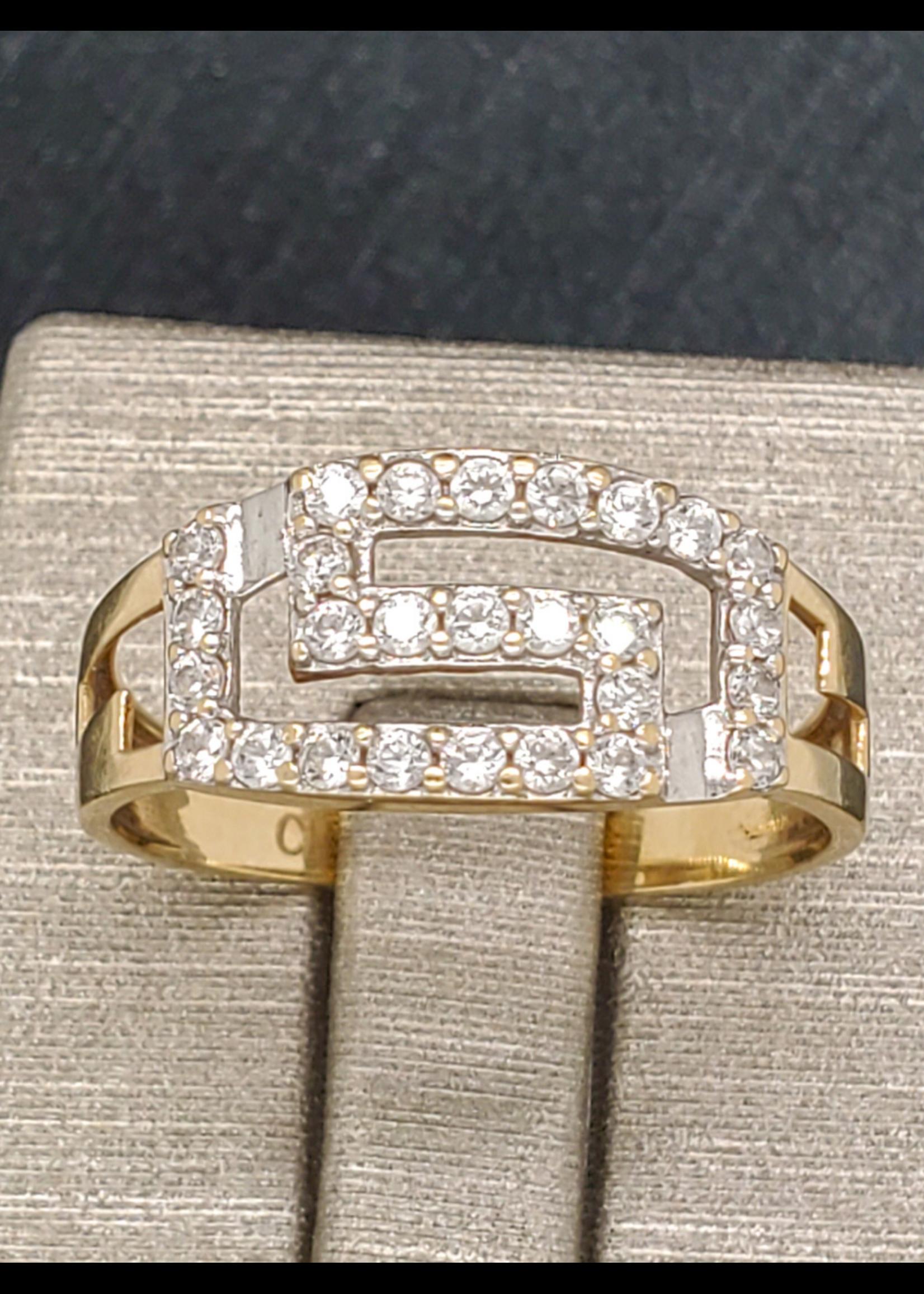 Vintage Jewellery Vintage 10k Greek Diamond Ring   Size 7.5 YG