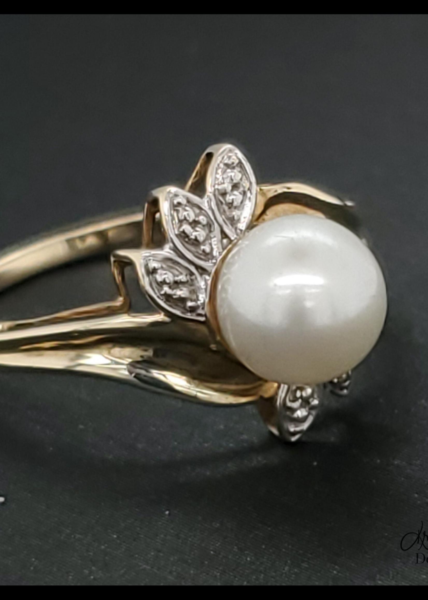 Vintage Jewellery Vintage 10k Pearl Ring   Sz 7 1.37mm Band