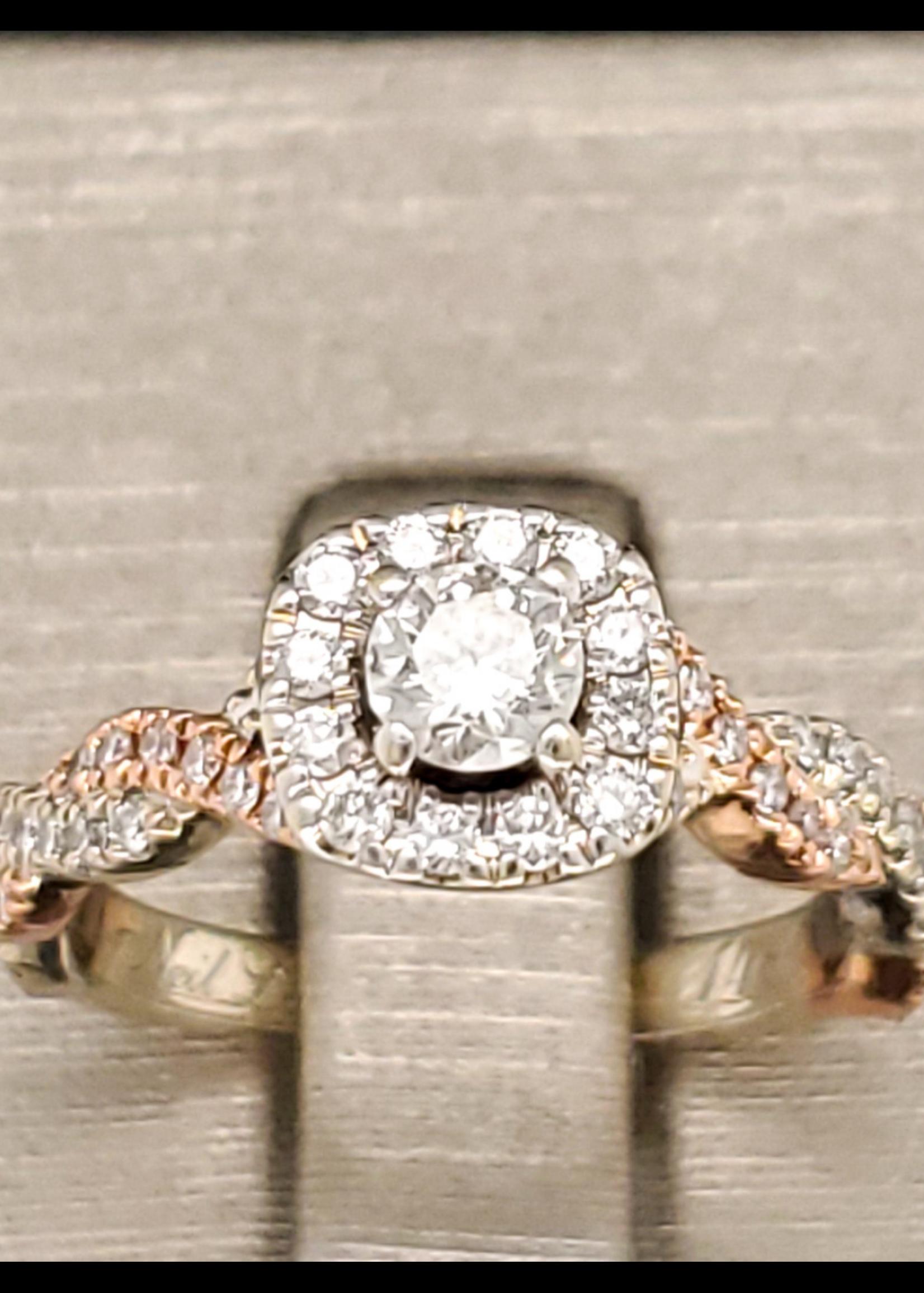 Vintage Jewellery Vintage 14k Neil Lane 2 Tone Halo Engagement Ring    Sz 4.5 2mm band