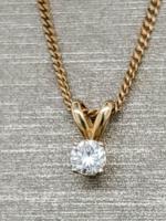 Vintage Jewellery Vintage 14k Solitaire Drop Pendant | 9mmx5mm