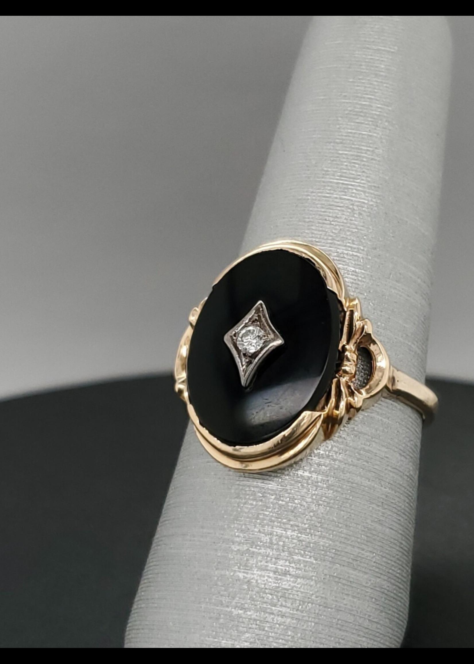 Vintage Jewellery Vintage Onyx Oval Ring   Sz 7.5