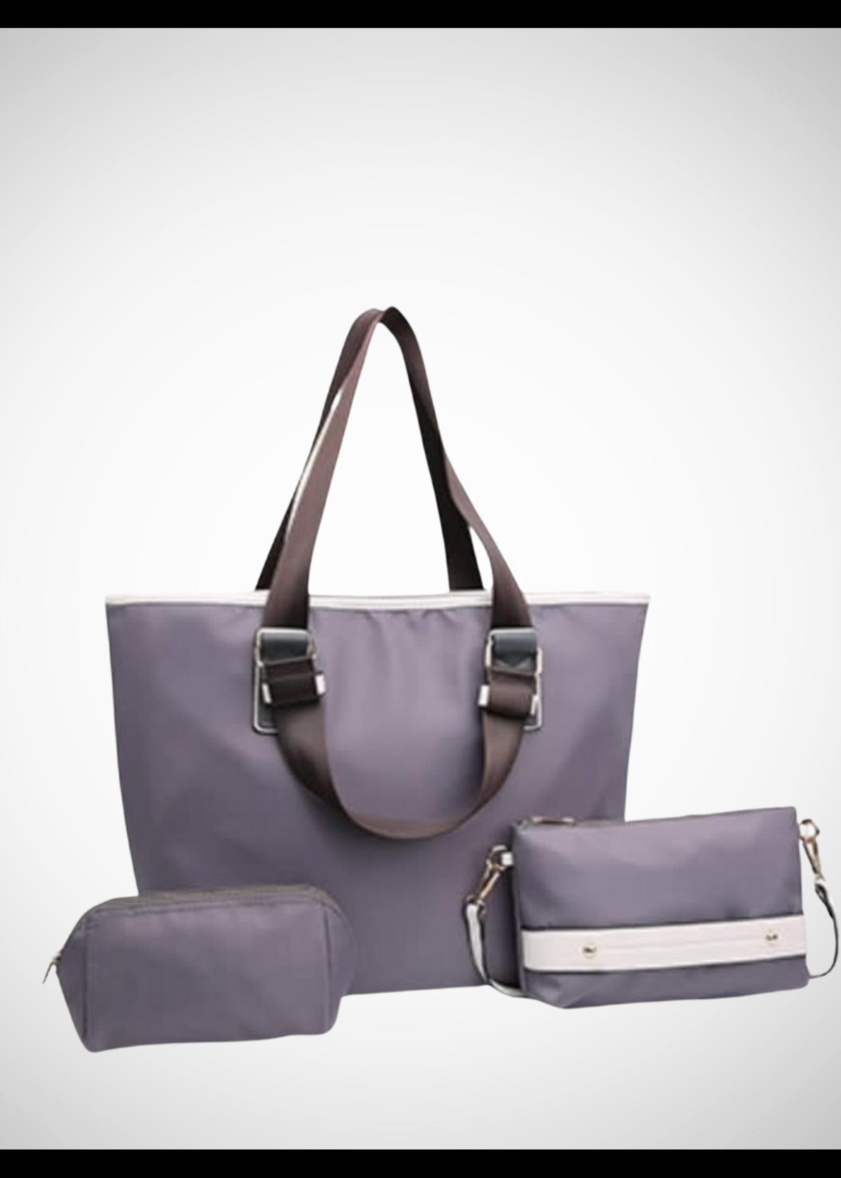 KDX Sturdy Nylon Fashion Tote 3pc Set