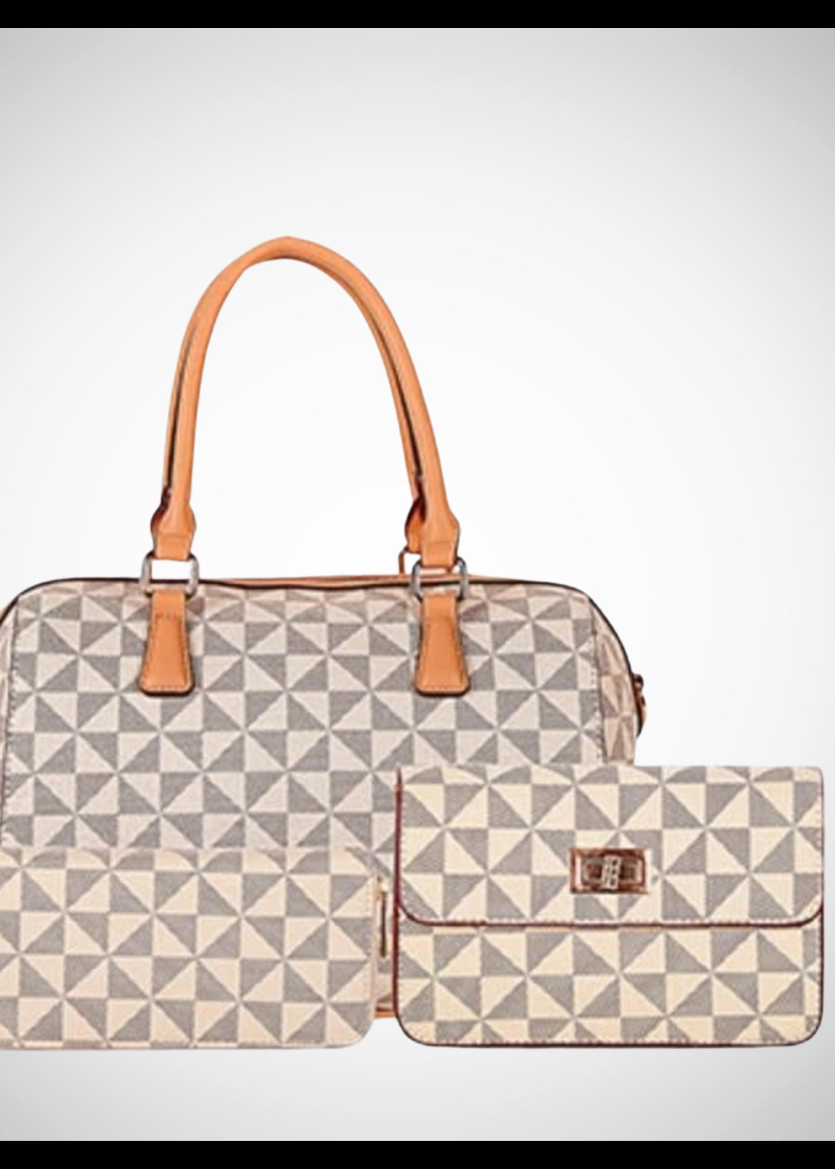 Trendy Print Satchel Handbag 3pc Set