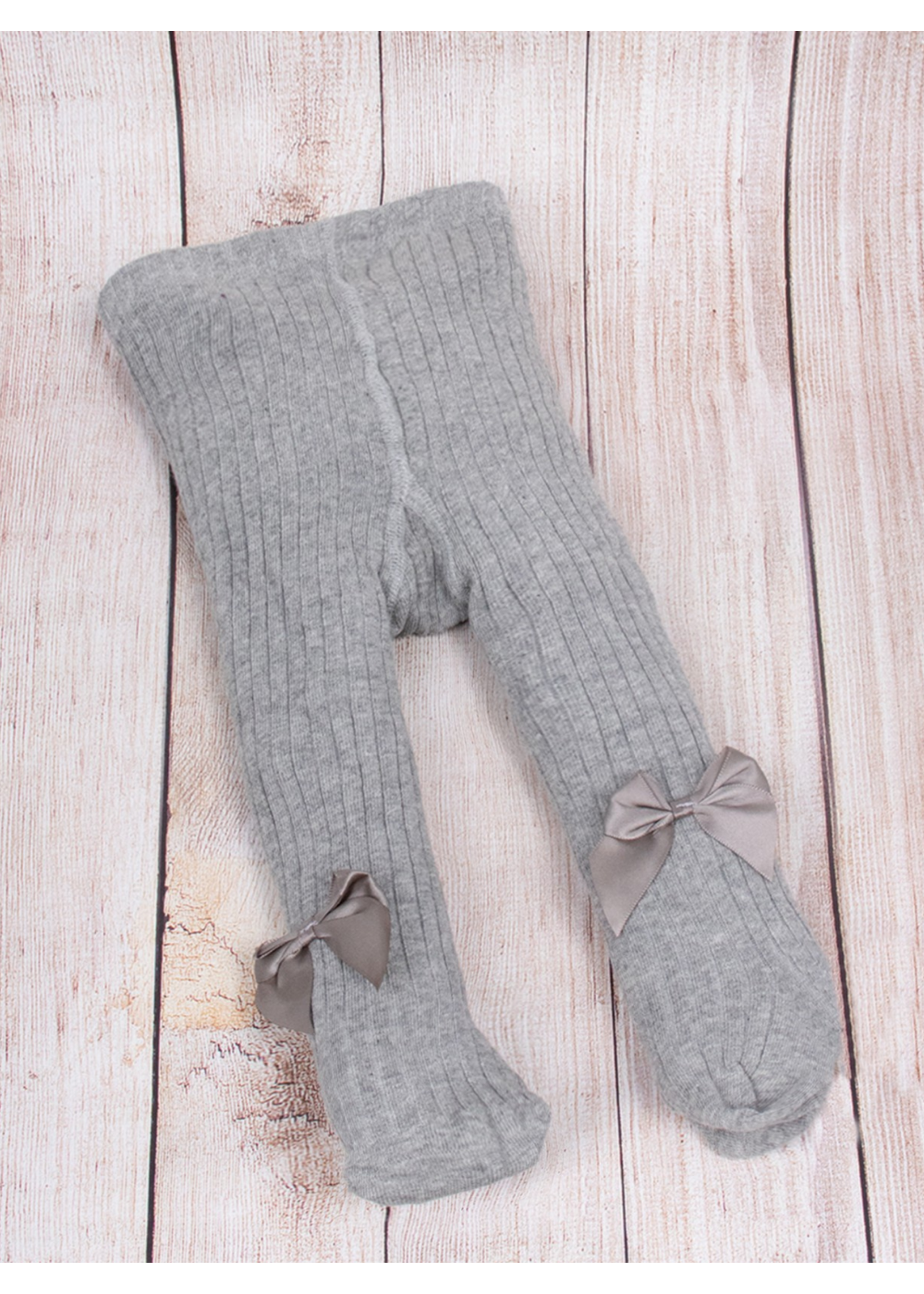 Kids' Cotton Knit Tights with Bow 2-4yrs