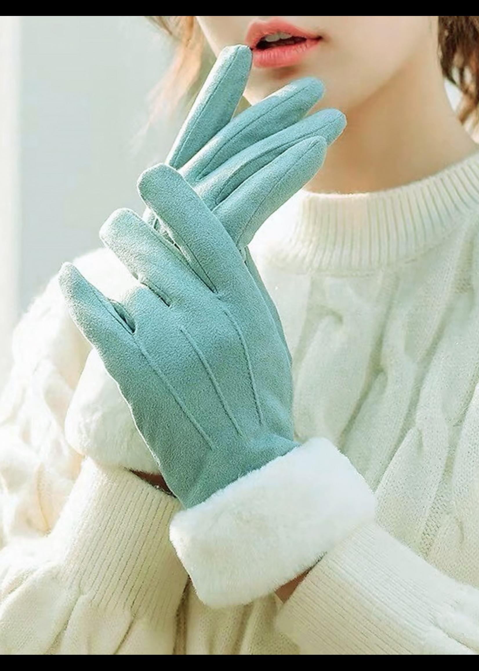 Fleece Lined Gloves w/ Faux Fur Trims