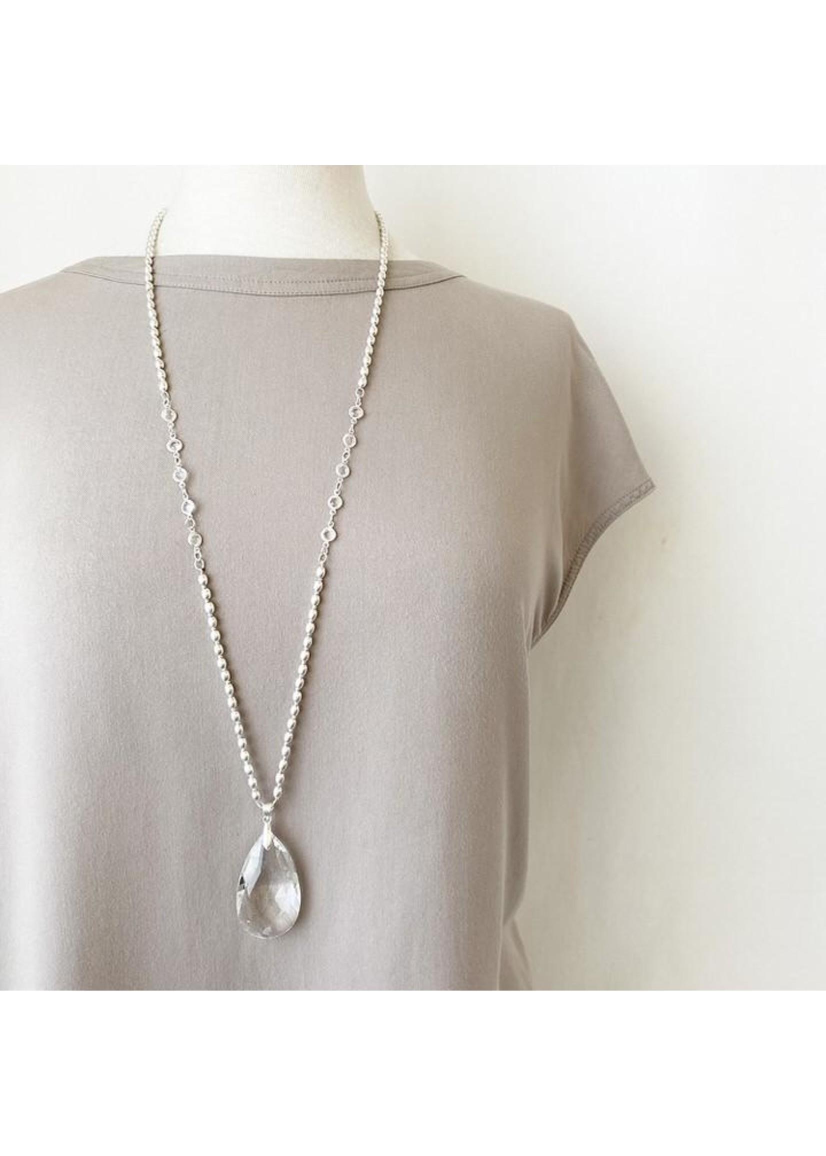 Long Necklace with Big Glass Drop Pendant