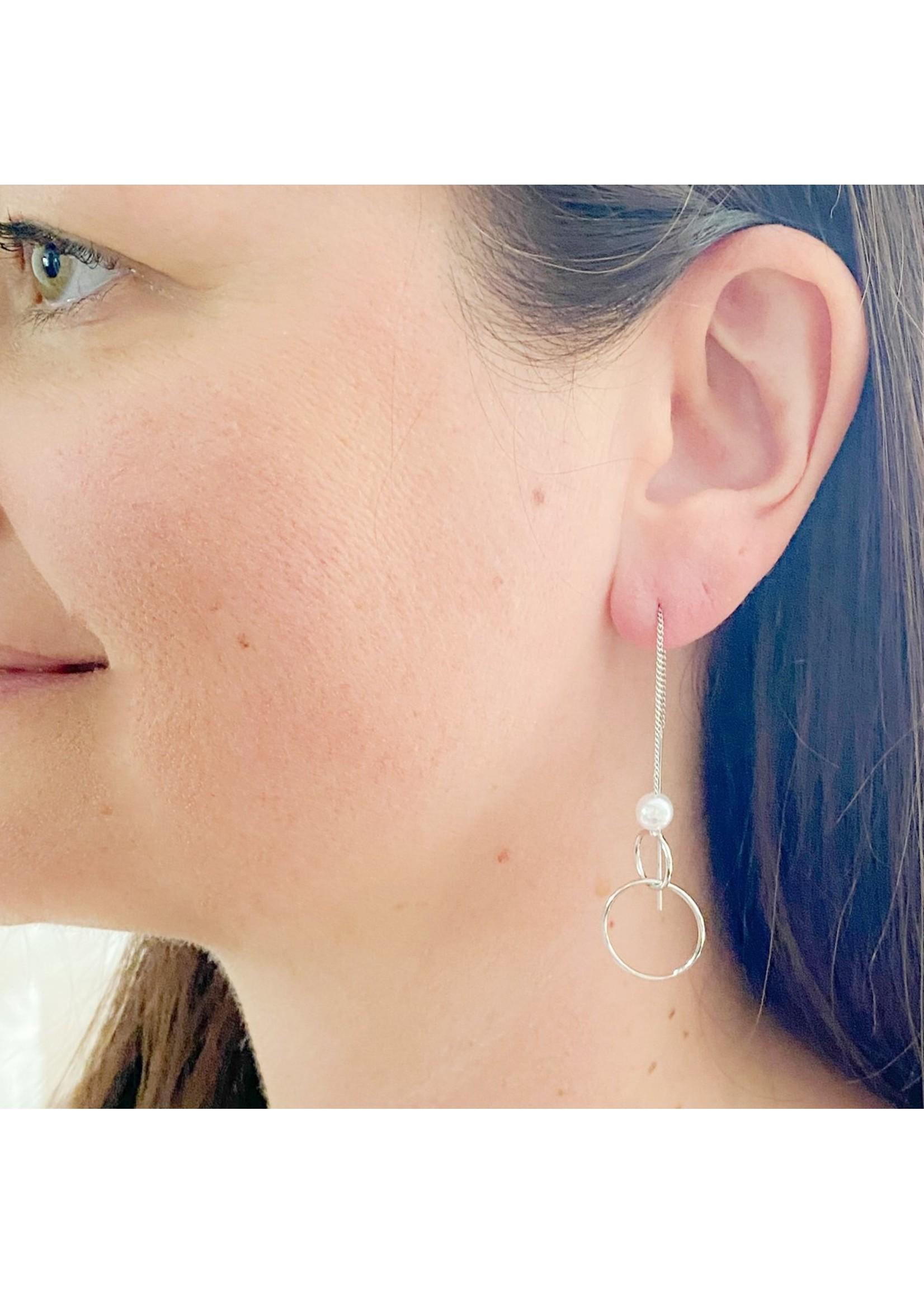 Rings & Pearl on Delicate Chain Earrings