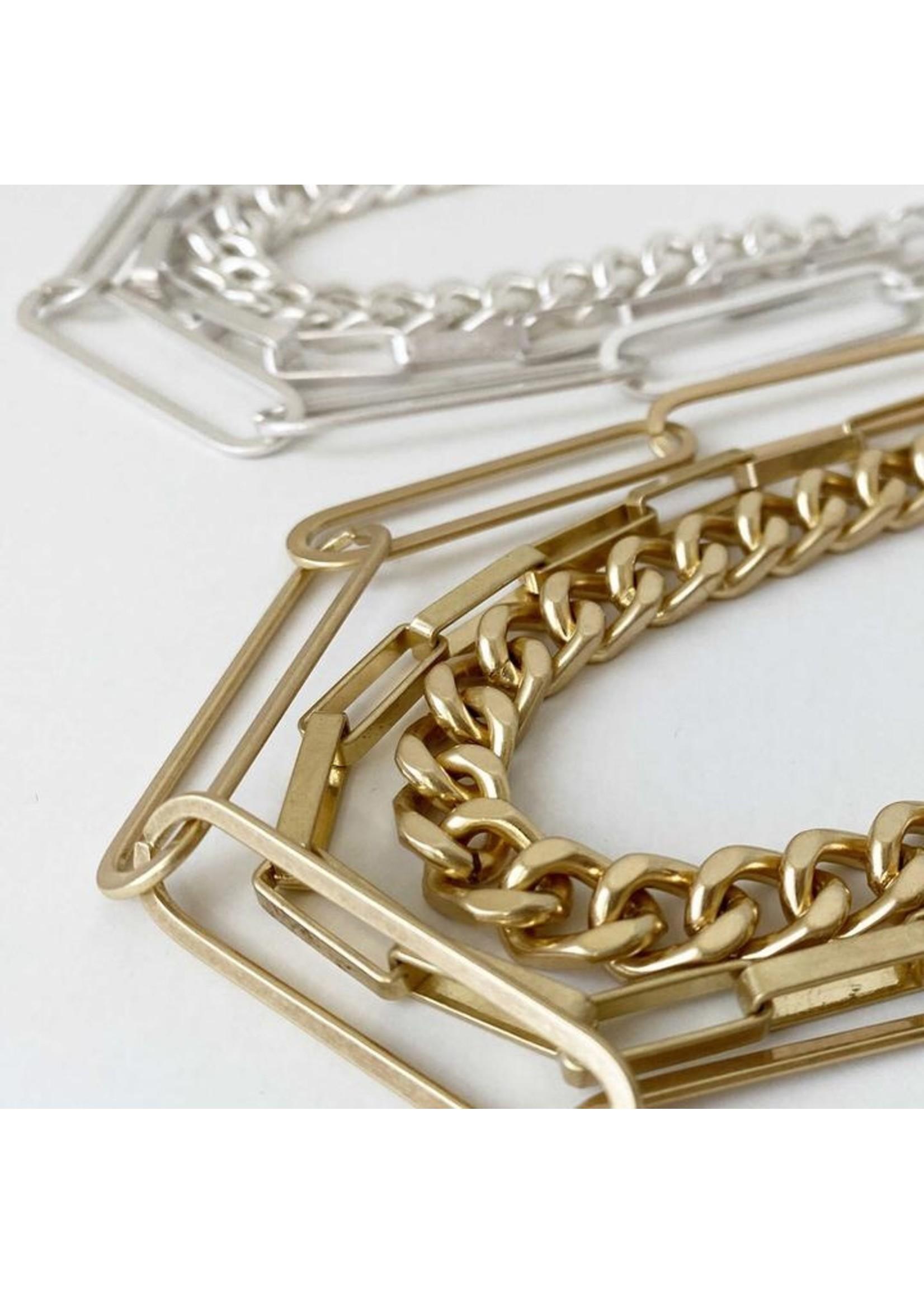 Statement Necklace Maxi Link Metal Worn Finish