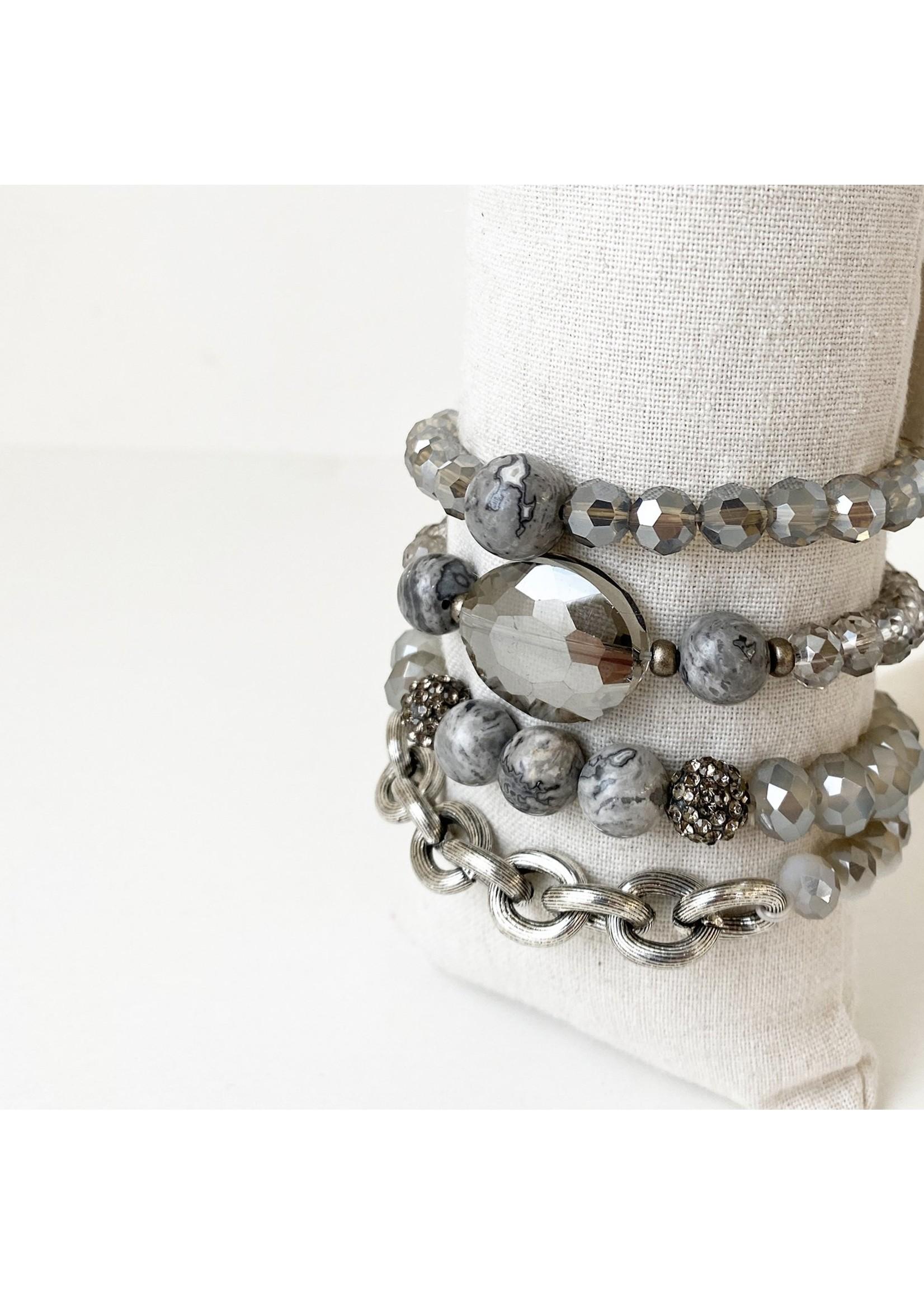 Stretch Bracelet With Glass Stones & Metal Beads