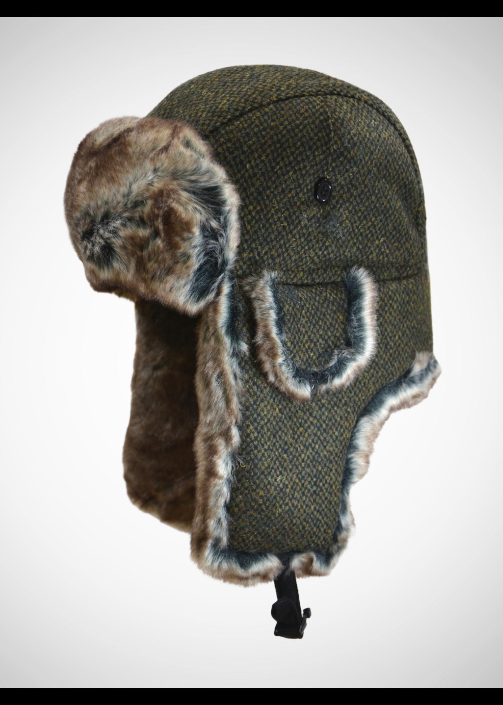 Wool Blend Birdseye Tweed Aviator Cap