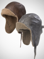 Vintage Leather Aviator Cap with Sherpa Trim