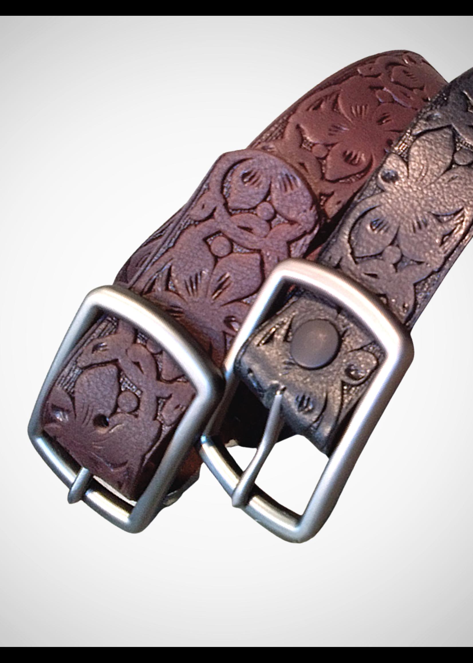 Embossed Floral Leather Belt. 40mm