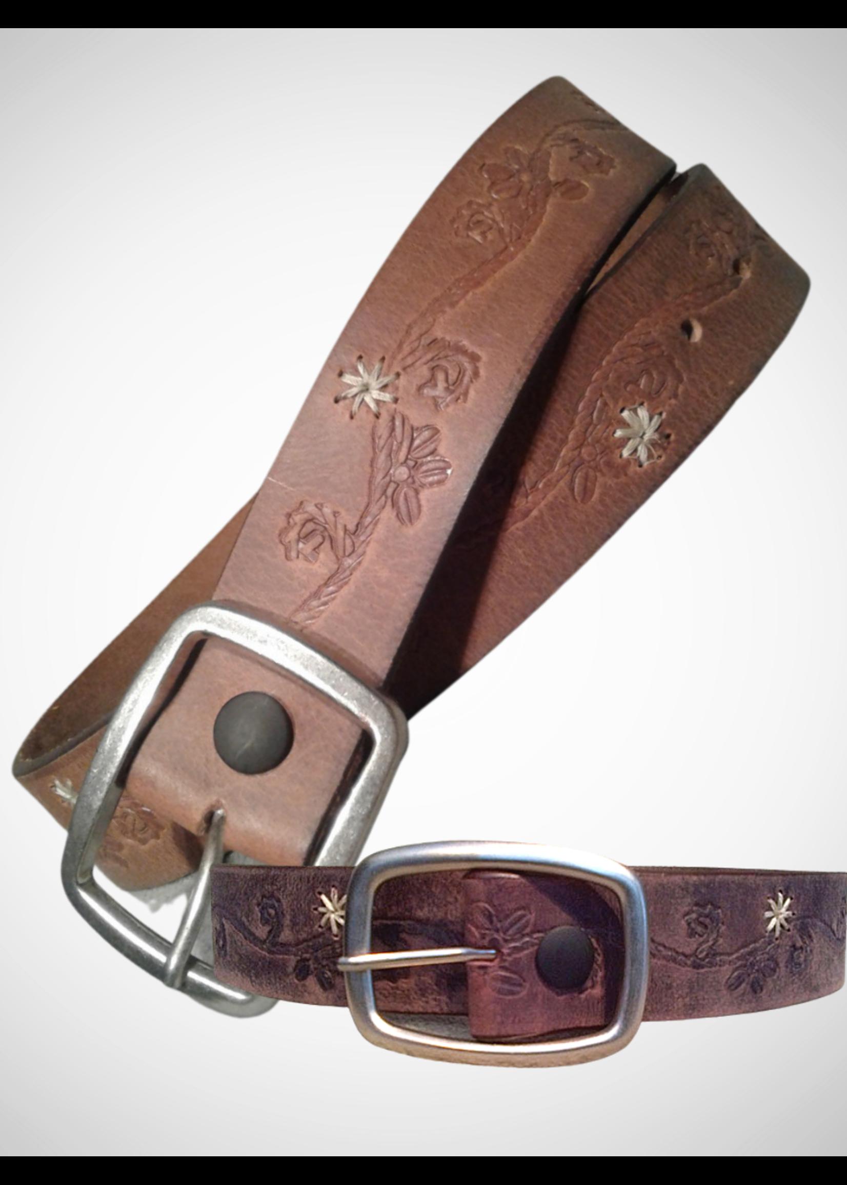 Distressed Floral Leather Belt. 40mm