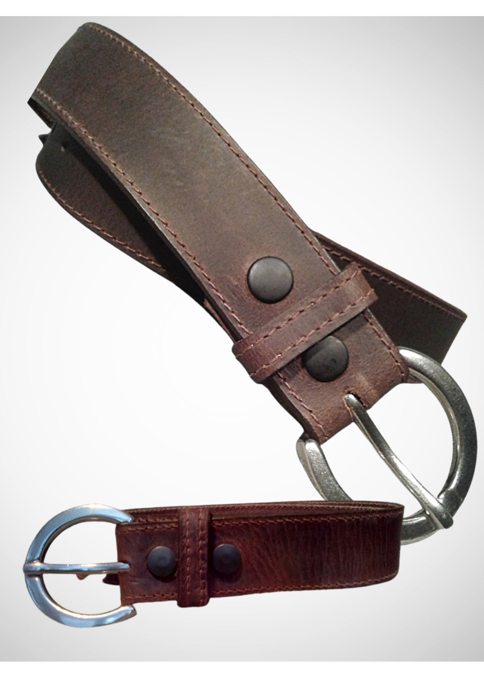 Distressed Stitched Leather Belt. 40mm
