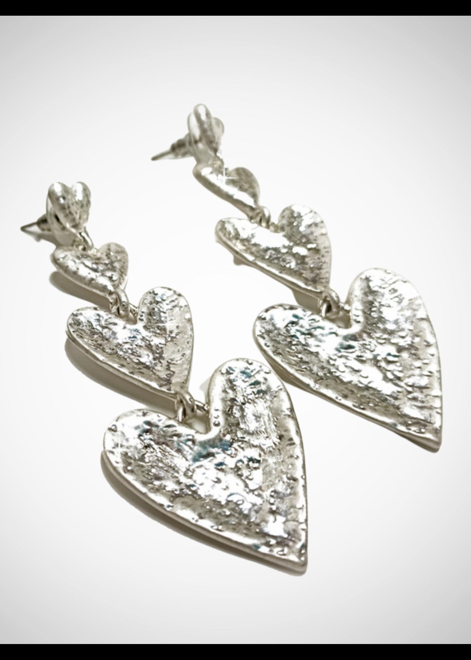 Jacqueline Kent Earrings Heart Drop Silver   JK