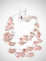 Jacqueline Kent Neck Earring Set Magnetic Pink   JK
