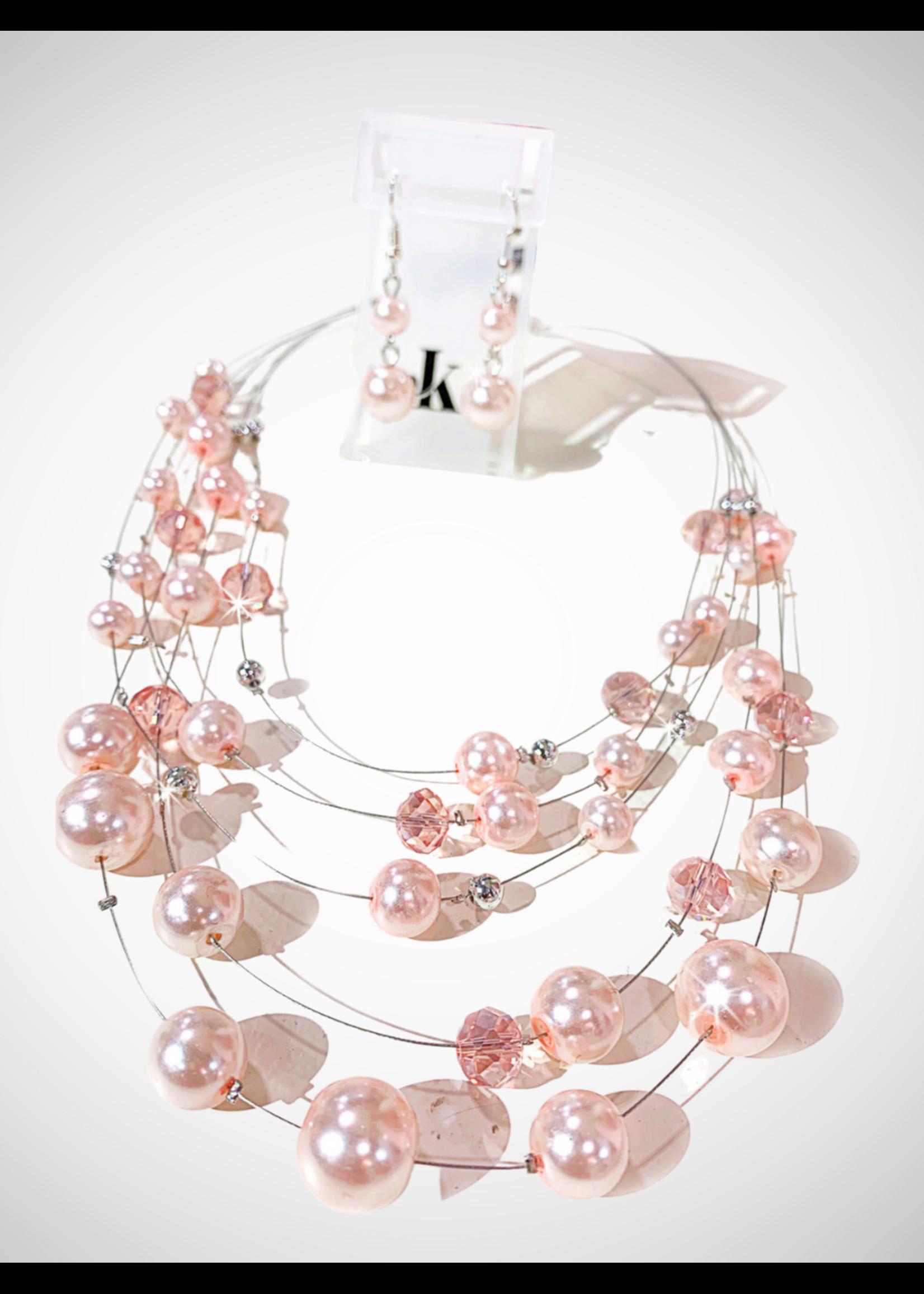 Jacqueline Kent Neck Earring Set Magnetic Pink | JK