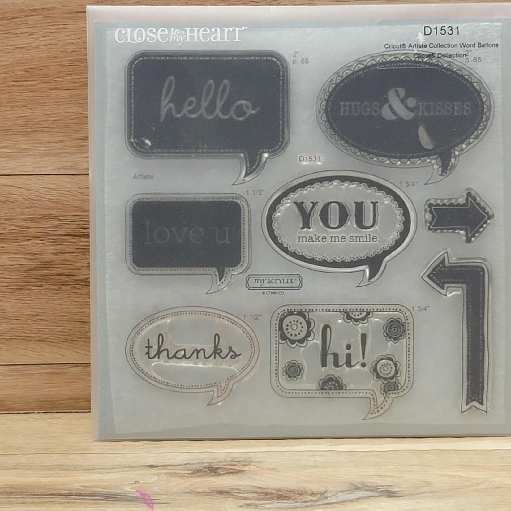 Close to my Heart - My Acrylix - Cricut Artiste Collection Word Balloon