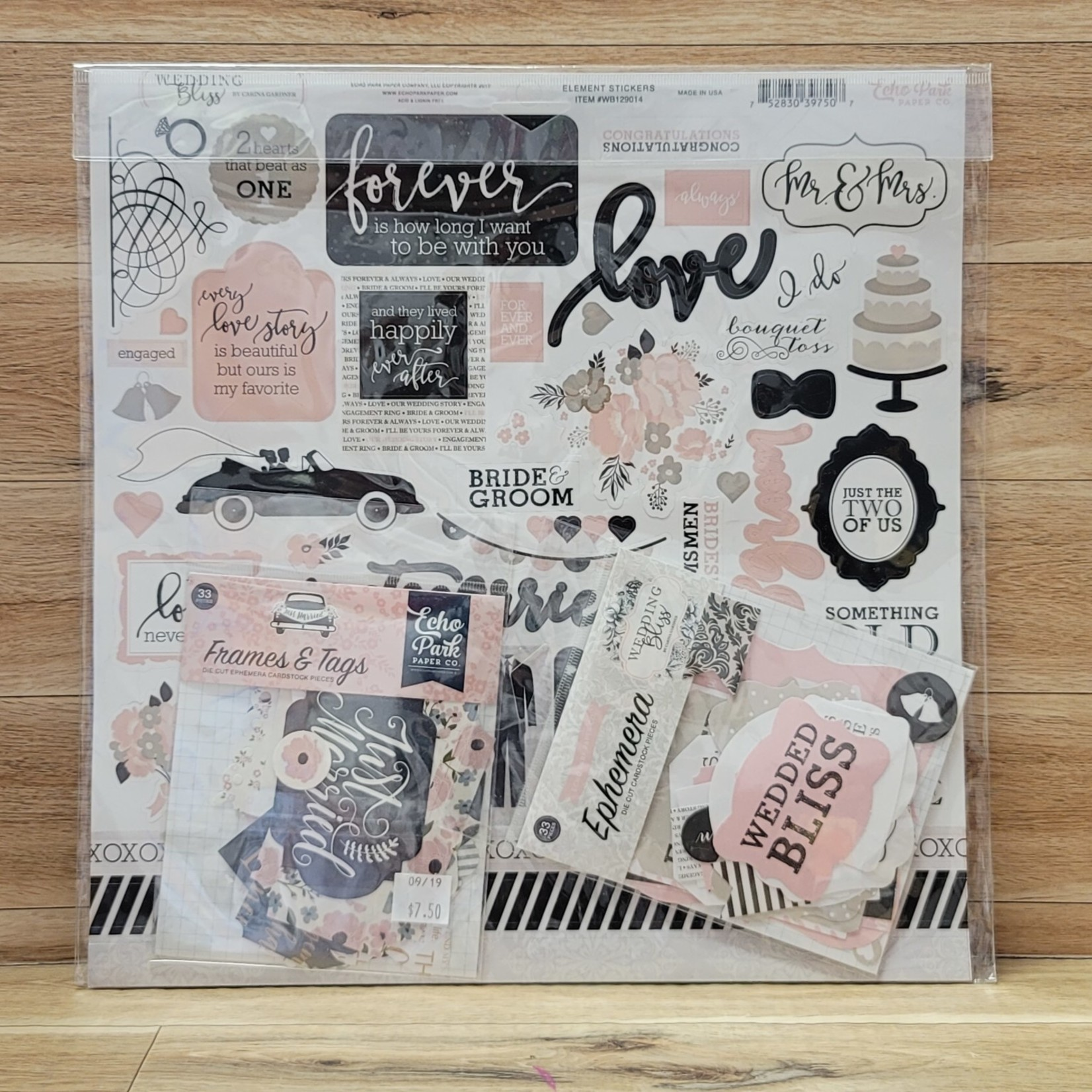 Echo Park - Elements Pack - Stcikers, Frames and Tags, Ephemera - Wedding Bliss
