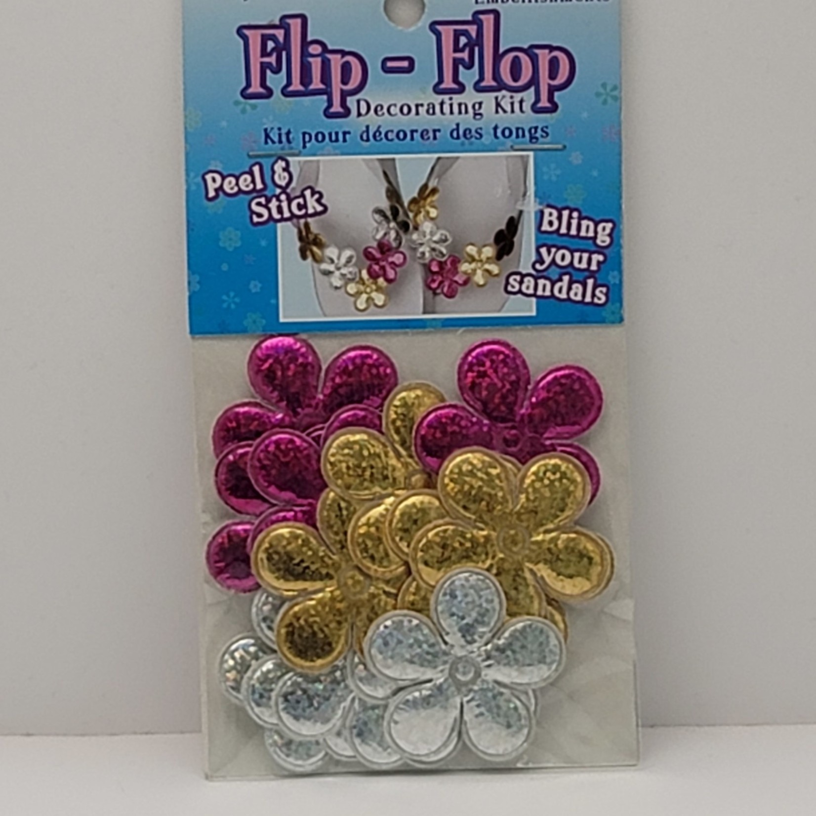 Peel & Stick Flowers (Holographic Silver, Gold, pink)