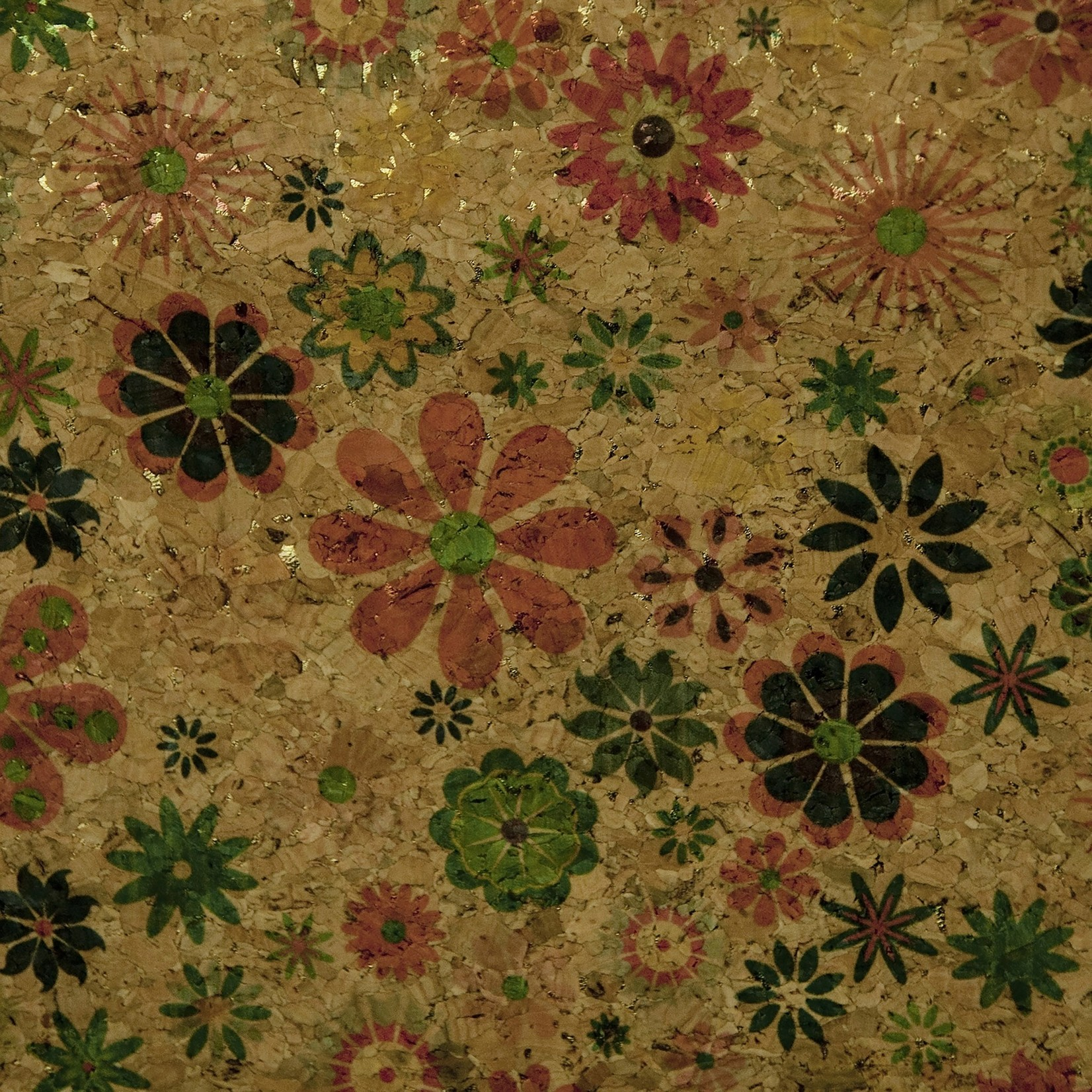 Belagio Packaged Cork Fabric Multi-Colored Print 18''X15''-Spring Flowers