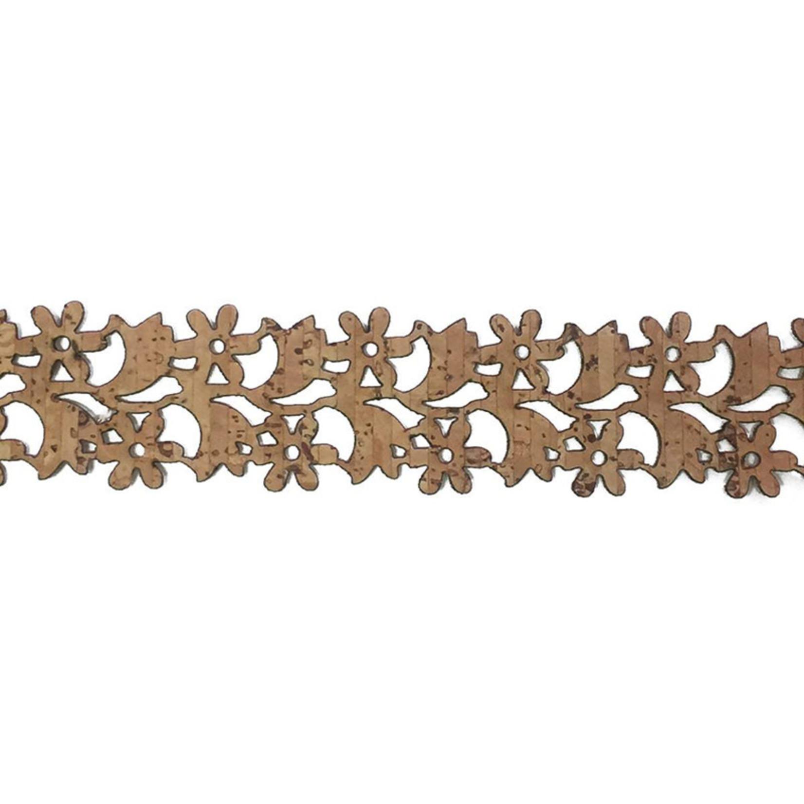 Belagio Laser Cut Cork Trim .75 Floral (SOld Per Metre)