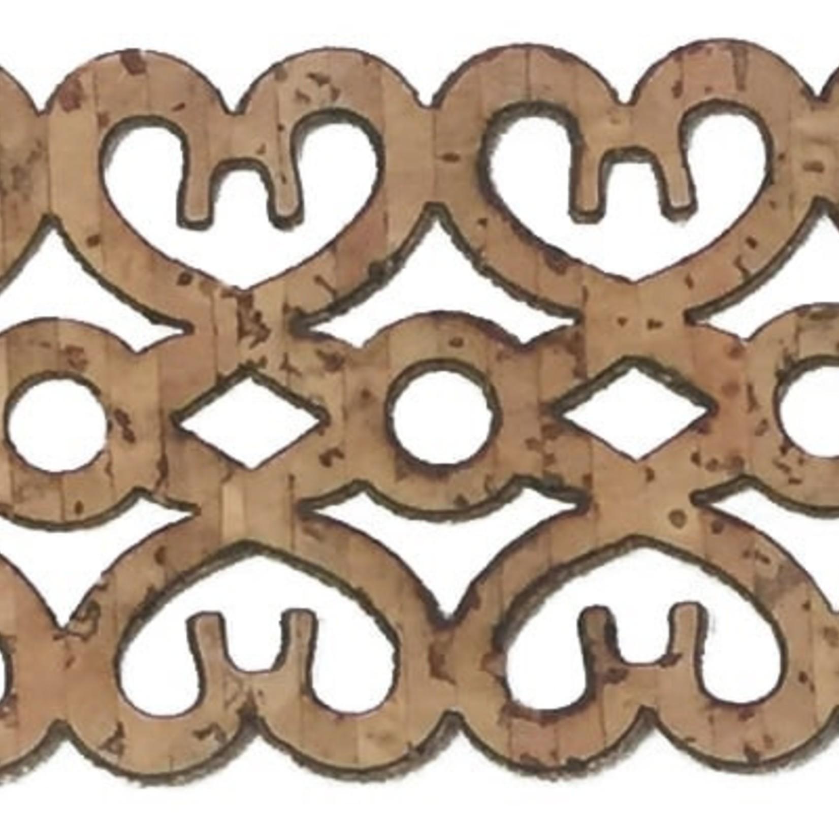 Belagio Laser-Cut Cork Trim 1.5'' Hearts (Sold Per Metre)