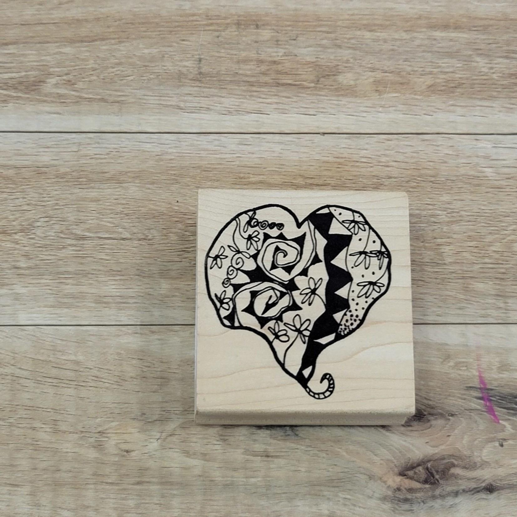 Block Stamp - Floral Heart