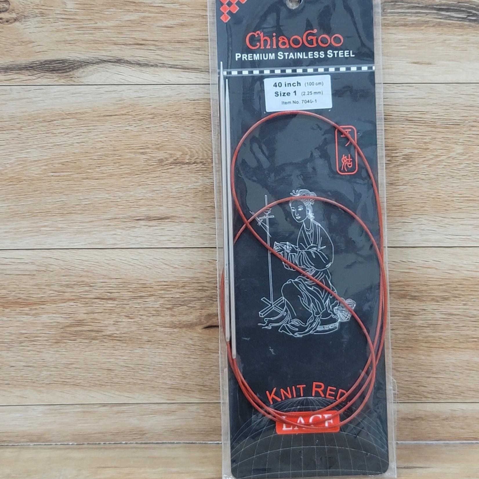 ChiaoGoo - Red Circular Knitting Needles - 40 inch Size 1 (2.25mm)