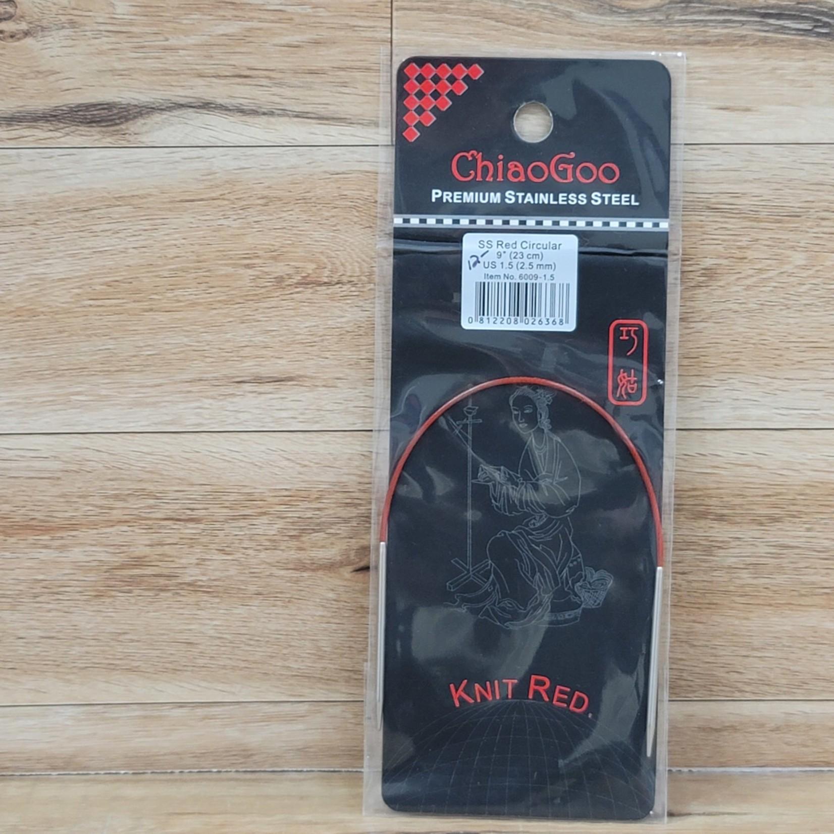 "ChiaoGoo - Red Circular Knitting Needles - 9"" (23cm) US 1.5 (2.5mm)"