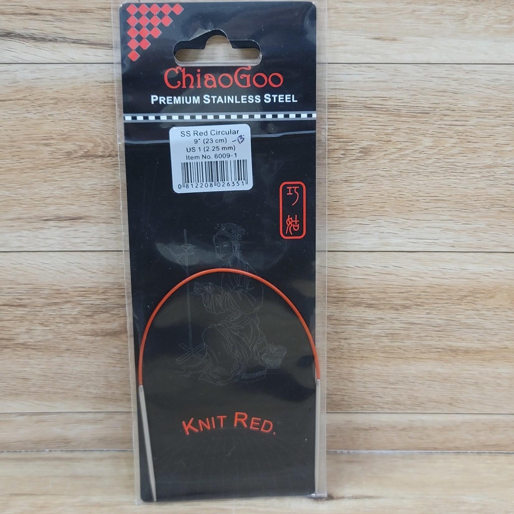"ChiaoGoo - Red Circular Knitting Needles - 9"" (23cm) US 1 (2.25mm)"