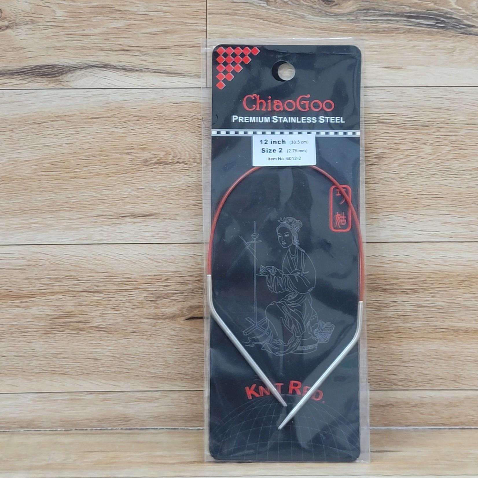 ChiaoGoo - Red Circular Knitting Needles - 12 inch Size 2 (2.75mm)