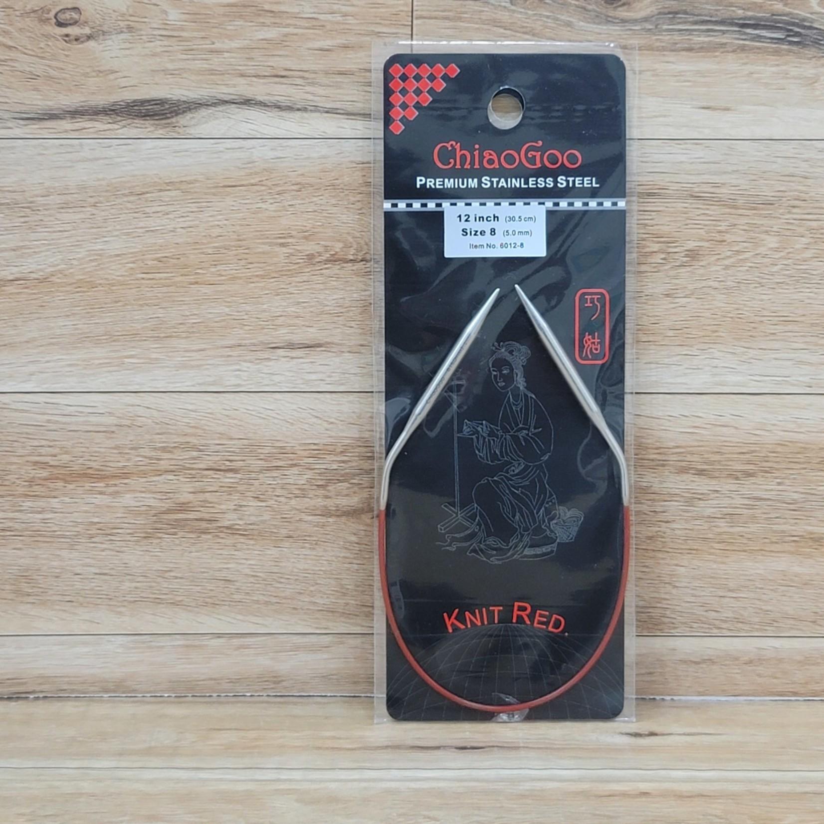 ChiaoGoo - Red Circular Knitting Needles - 12 inch Size 8 (5.0mm)