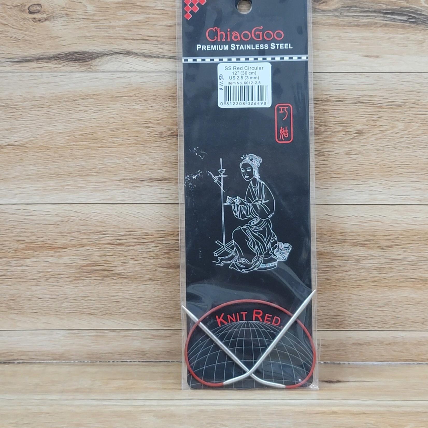 ChiaoGoo - Red Circular Knitting Needles - 12 inch Size 2.5 (3mm)