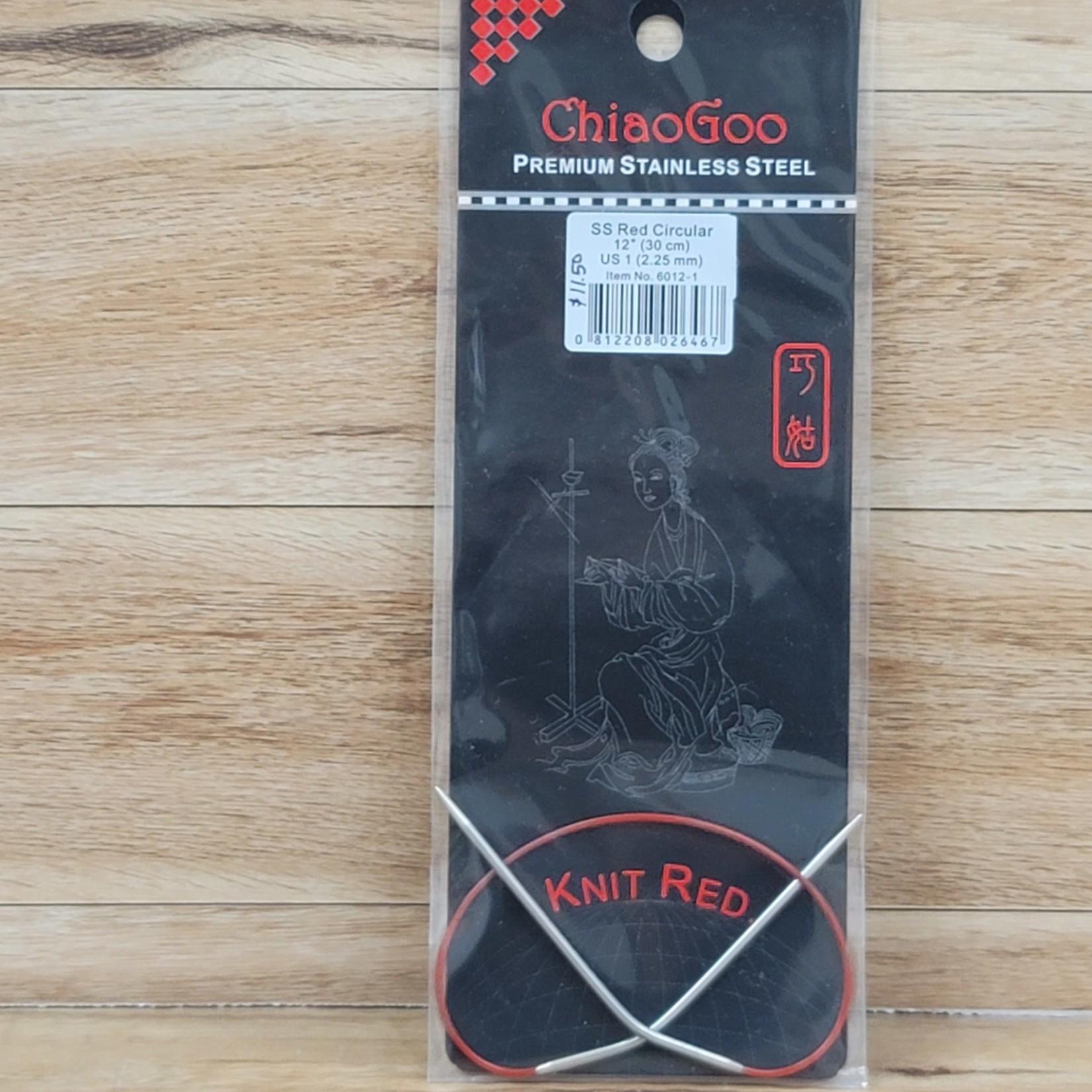 ChiaoGoo - Red Circular Knitting Needles - 12 inch Size 1 (2.25mm)