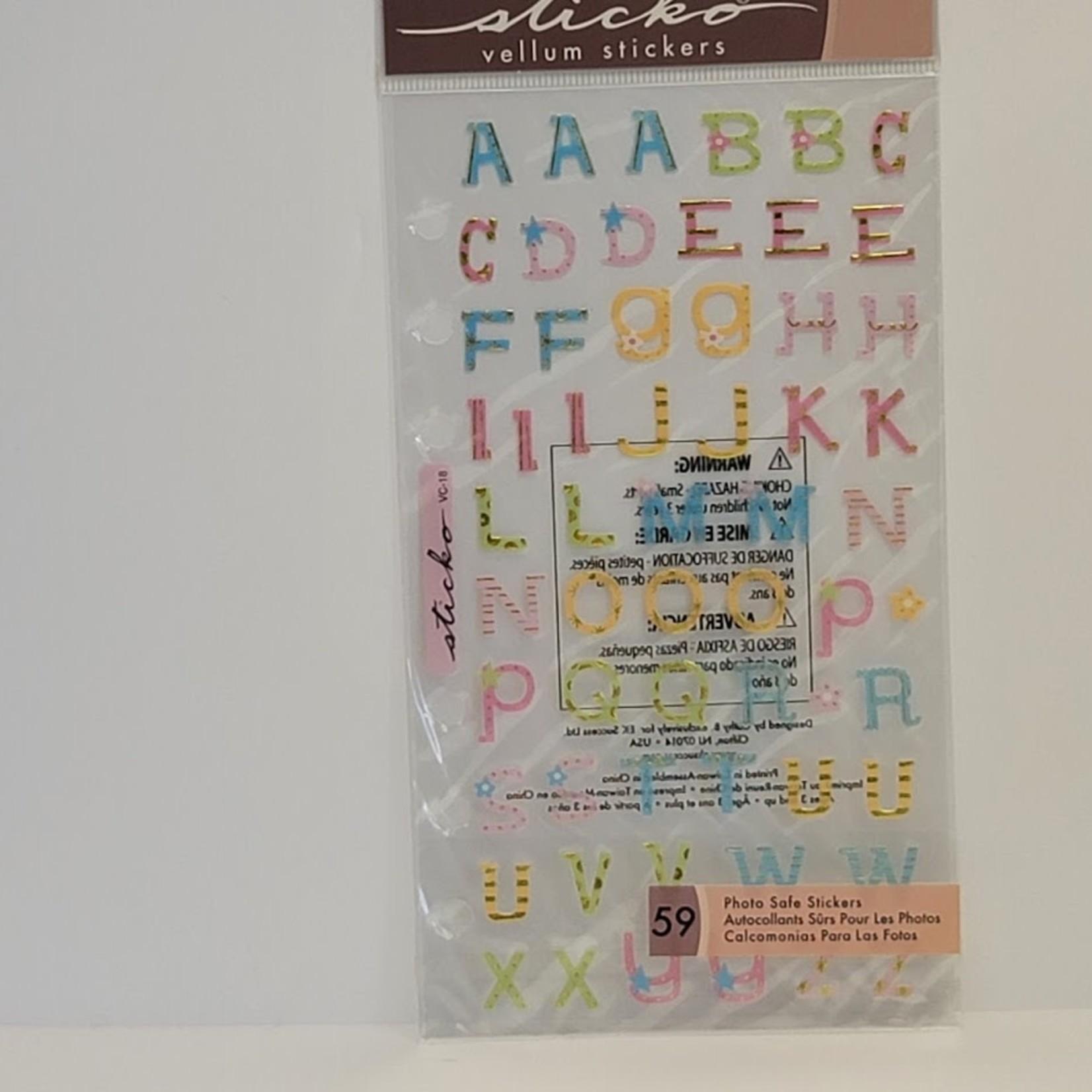 Sticko - Vellum Stickers - Adorable ABC Upper
